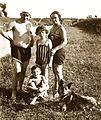 Dog, family, kids, bathing suit, tableau, shore, water surface, river, summer, bridge Fortepan 30151.jpg