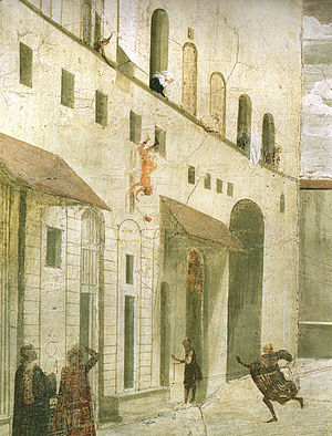 Palazzo Spini Feroni - Detail of the fresco of the Resurrection of the Boy by Domenico Ghirlandaio, in the Sassetti Chapel of Santa Trinita.