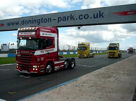 Truck racing down the main straight, 2013 Donington Park truck racing 2013.jpg