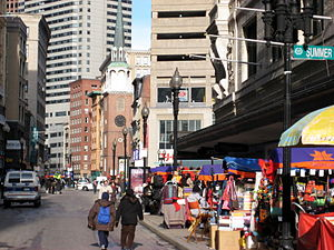 Downtown Crossing - Washington Street seen from Summer Street intersection, with Old South Meeting House visible in background