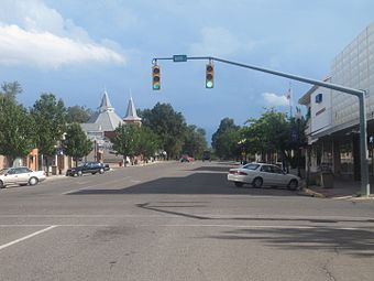 Downtown La Junta with the post office on back right.