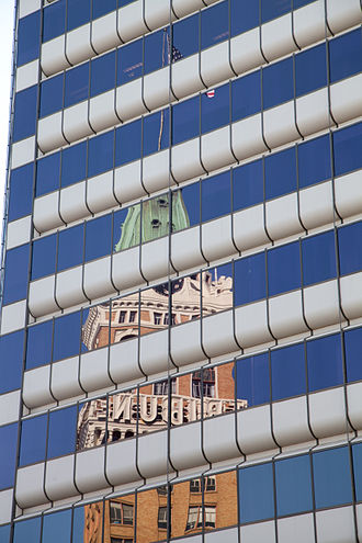Downtown Oakland Historic District - Tribune Tower, mirrored in office building in Downtown Oakland