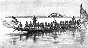 Duala people - Duala war canoe, 1884.