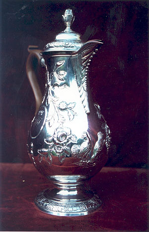 Jug - Silver hot water jug, Dublin c1770, using a coffee-pot shape with a higher base.