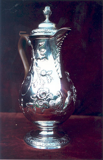 Coffeemaker - Silver hot water jug, Dublin c1770, using a coffee-pot shape with a higher base.