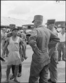 "During the UN POW exchange at Panmunjom, Korea, a Communist POW verbally abuses an American Army Major saying, ""You... - NARA - 542273.tif"