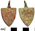 EE75F6. Medieval shield-shaped heraldic harness pendant (FindID 263250).jpg