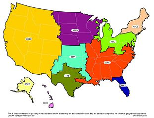 Map of the United States divided into EGRID regions