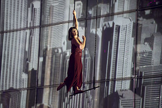 Azerbaijan in the Eurovision Song Contest 2014 - Aerial acrobat Matleena Laine at the first semi-final dress rehearsal