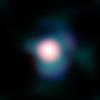 Betelgeuse - Image from ESO's Very Large Telescope showing the stellar disk and an extended atmosphere with a previously unknown plume of surrounding gas