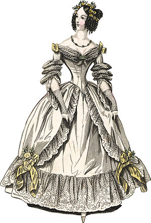 Corset controversy - Evening dress, 1838