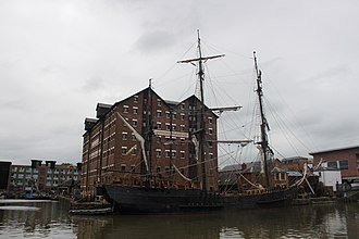 Earl of Pembroke (tall ship) - Image: Earl of Pembroke (tall ship) in Gloucester Docks (renamed as The Wonder) for filing of Alice in Wonderland Through the Looking Glass 01