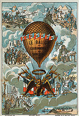 """""""Napoleon's coronation balloon"""". Collecting card with vignettes of Napoleon's military victories."""