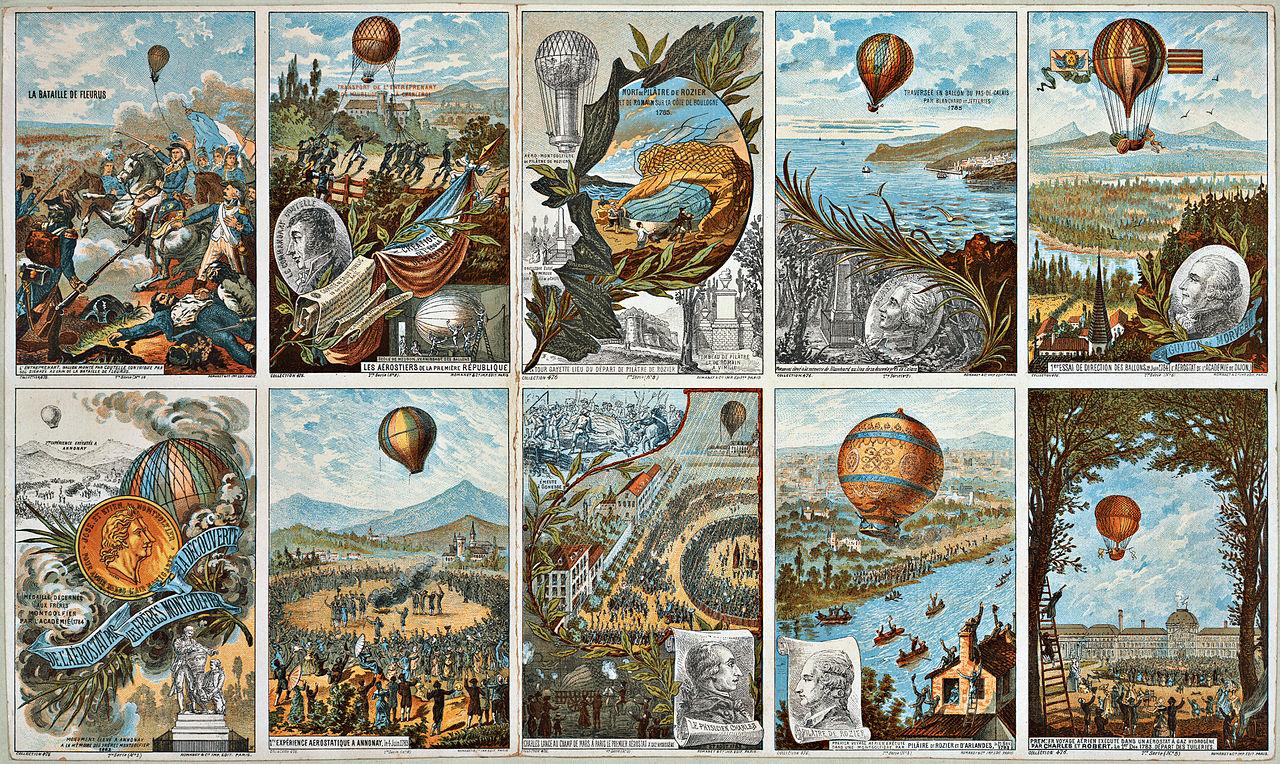 Tarjetas postales, mostrando los primeros globos aerostáticos de los hermanos Montgolfier.