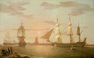 Nathaniel Dance - The East Indiaman Warley, painted in 1801 by Robert Salmon. Warley, commanded by Captain Henry Wilson, was one of the ships of Dance's fleet in 1804.