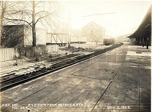 Milton (MBTA station) - Milton station in 1923, shortly before the conversion to trolleys