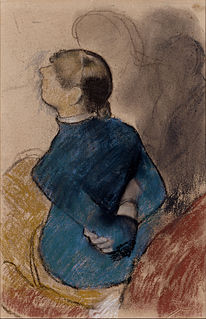 <i>Young Woman in Blue</i> drawing by Edgar Degas