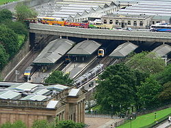 Waverley railway station- the principal mainline station in Edinburgh viewed from Edinburgh Castle.