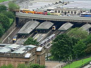 Transport in Edinburgh - Edinburgh Waverley railway station - the principal mainline station in Edinburgh viewed from Edinburgh Castle.
