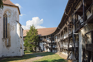 Courtyard of the fortified church of Prejmer, Romania