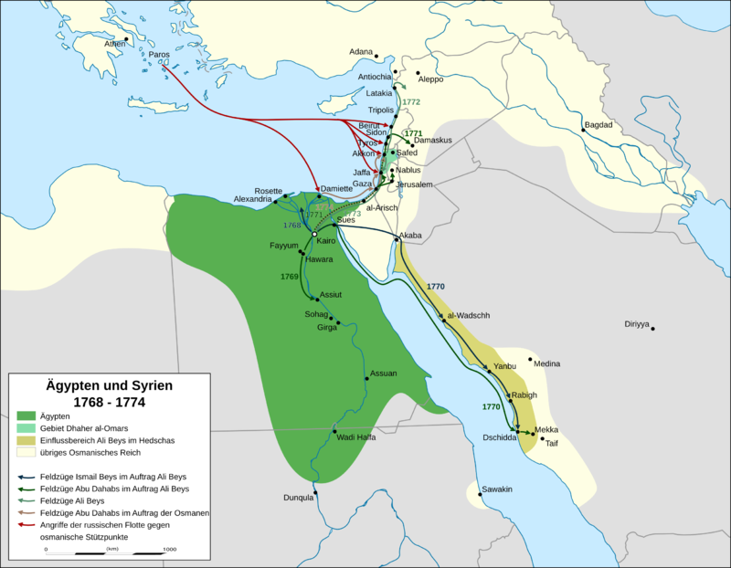 الحملة العسكرية الروسية على شرق المتوسط (1772 – 1774) 800px-Egypt_and_Syria_1768_to_1774_map_de