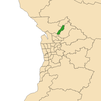 Electoral district of Elizabeth (South Australia) - 2018 boundaries shown in green in Adelaide area