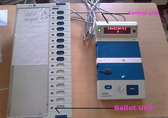 Elections in India - Ballot unit (left), control unit (right)