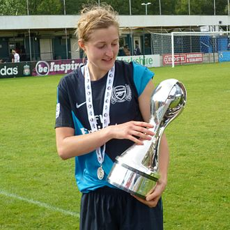 Ellen White (footballer) - White with the 2011 FA WSL trophy
