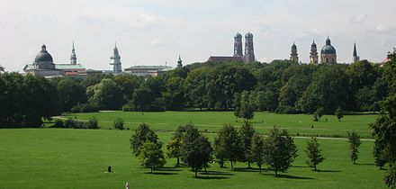 View from the Englischer Garten Englischer Garten from Monopteros.JPG