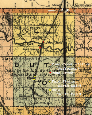 "Enid–Pond Creek Railroad War - Map of ""L"" and ""O"" counties in 1894."