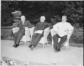 Enjoying a brief respite during the last day of the Potsdam Conference in Potsdam, Germany are, L to R, British Prime... - NARA - 198952.tif