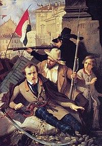 Episodio de lascinco jornadas de Milán, 18-22 de marzo de 1848. Óleo deBaldassare Verazzi(c. 1886). En elMuseo del Risorgimento, Milán.