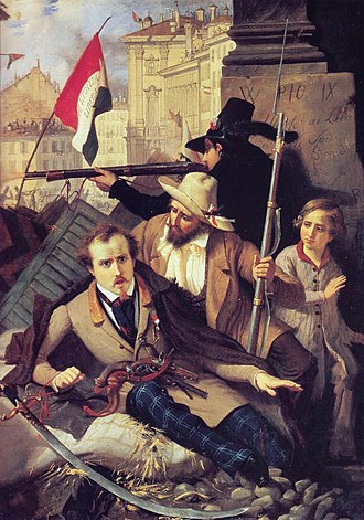 Revolutions of 1848 - Episode from the Five Days of Milan. Painting by Baldassare Verazzi.