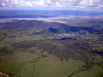 Esk, Queensland - Aerial view of Esk with flooded Wivenhoe Dam in the background, photographed a week after the devastating floods of January 2011
