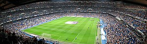 Inside of Santiago Bernabeu Stadium.