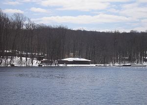 Estling Lake - Lake with clubhouse and beach (Winter 2007)