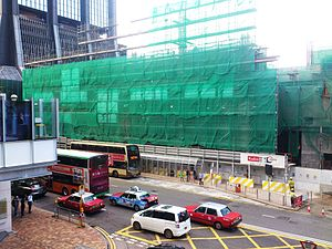 Exhibition Station related construction works near Harbour Centre in 2014.JPG