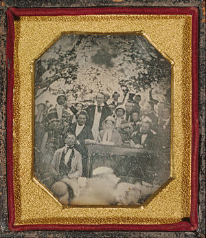 Fugitive Slave Law Convention - Daguerrotype of the convention, by local photographer and abolitionist Ezra Greenleaf Weld. Original in the collection of the Madison County Historical Society.