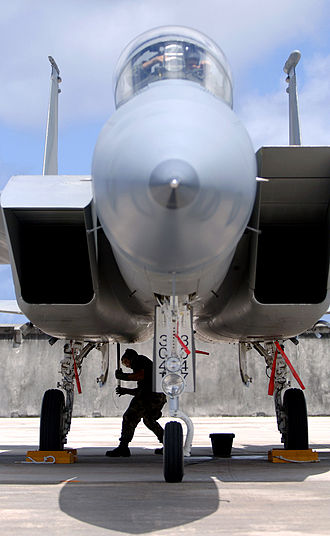 Intake ramp - An F-15 with its two intake ramps in different positions