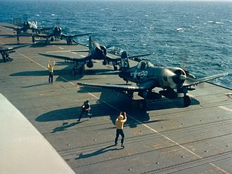VMFA-323 - Image: F4U 4s of VMF 323 on USS Sicily (CVE 118) 1951