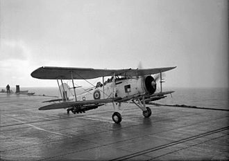 HMS Avenger (D14) - Fairey Swordfish taking off from an escort carrier