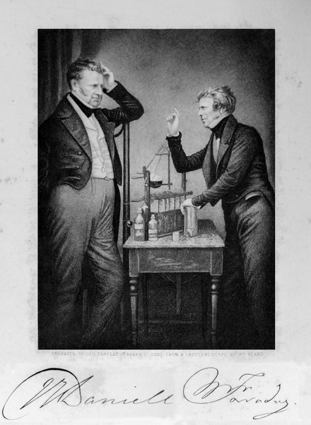 Faraday (right) and John Daniell (left), founders of electrochemistry. Faraday and Daniell 1849 RGNb10408769 f85.tif