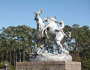 Brookgreen Gardens - Fighting Stallions – by Anna Hyatt Huntington at garden park entrance.