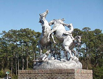 Brookgreen Gardens - Fighting Stallions – by Anna Hyatt Huntington at garden park entrance.