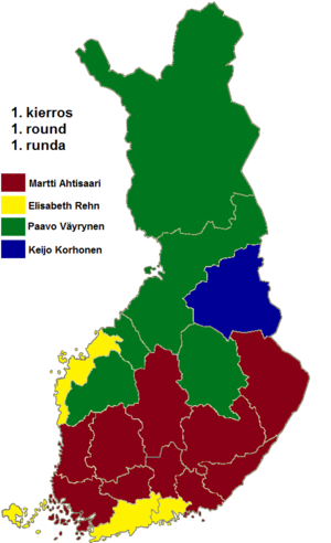 Finnish presidential election, 1994 - Image: Finnish presidential election results (first round) by province, 1994