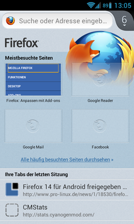 Screenshot di Firefox Mobile