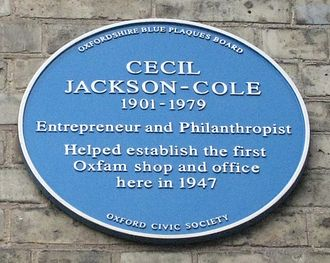 Broad Street, Oxford - Blue plaque commemorating Cecil Jackson-Cole outside the first Oxfam shop