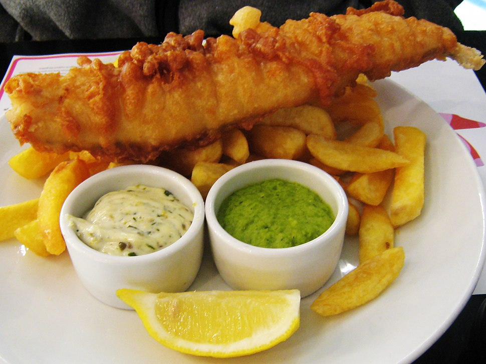Fish, chips and mushy peas (4by3)