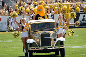 James E. Dull - The Ramblin' Wreck with cheerleaders and Buzz at a football game in 2007