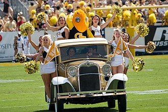 Ramblin' Wreck - The Ramblin' Wreck with cheerleaders and Buzz at a football game against Samford in 2007.
